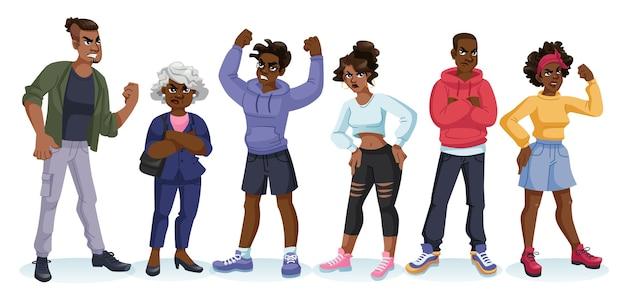漫画のキャラクター、怒った気分の黒人、さまざまな人やポーズ。