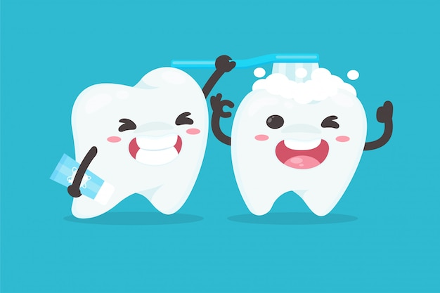 Cartoon characters brushing teeth to clean their teeth dental dentist concept.