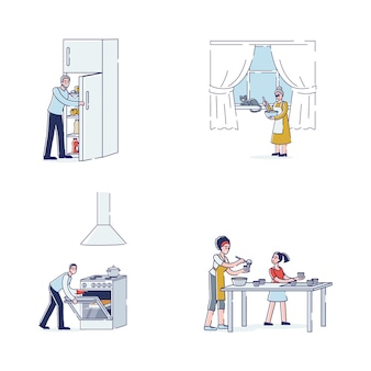 Cartoon characters cooking: family members preparing food. grandparents, parents and daughter with cooking appliances and utensils making dishes