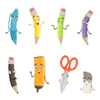 Cartoon characters of different drawing tools.