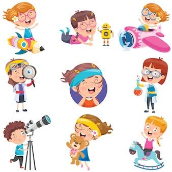 Персонажи мультфильмов делают различные действия