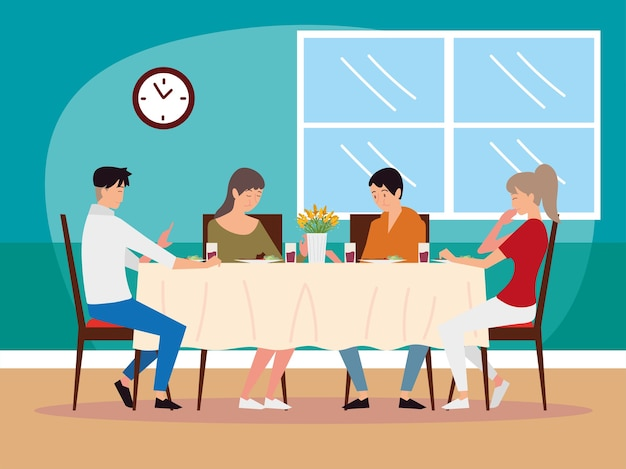 Cartoon characters father, mother, son and daughter having meal together illustration