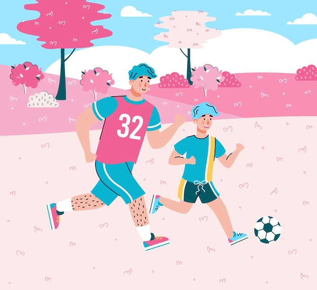 Cartoon characters of father and son playing football together at background of summer landscape