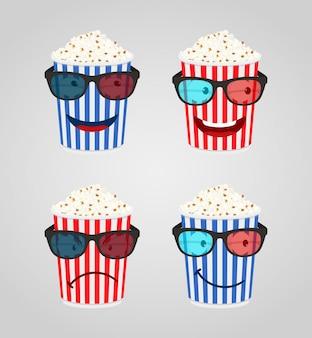 映画館の漫画のキャラクター-3 dメガネでポップコーン