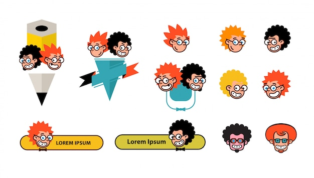 Cartoon characters geeks in a flat style.