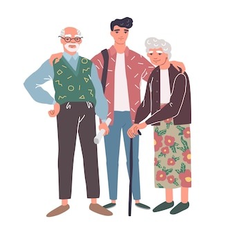 Cartoon characters of grandparents with grandson. happy family