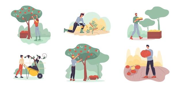 농장에서 수확하는 만화 캐릭터-웹 온라인, 사이트에 대한 생태, 유기, 농업 개념