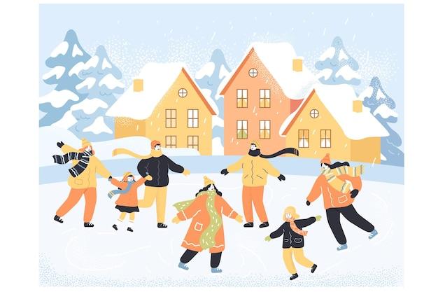 Personaggi dei cartoni animati che si divertono insieme sulla pista di pattinaggio sul ghiaccio