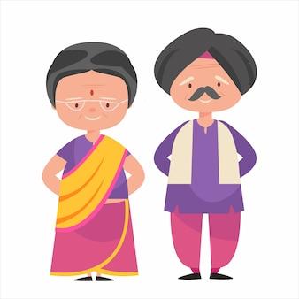 Индийская пара героев мультфильмов одевается в индийский национальный костюм