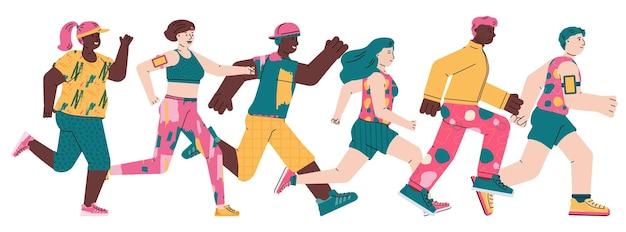 Герои мультфильмов бегущих мужчин и женщин плоские векторные иллюстрации изолированы