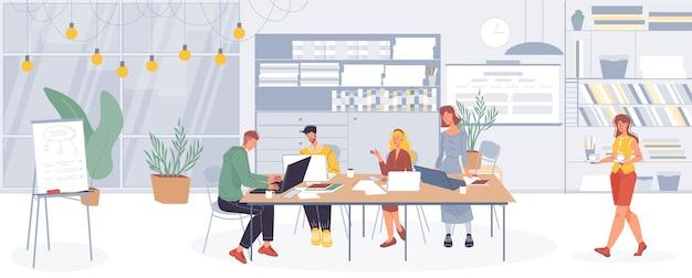 Мультяшные персонажи офисных работников, занятые сотрудники делают разные дела и обсуждают бизнес в интерьере офиса.