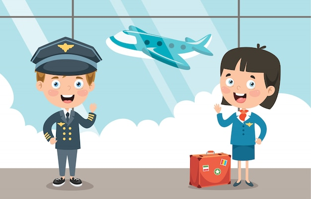 Cartoon characters of pilot and hostess