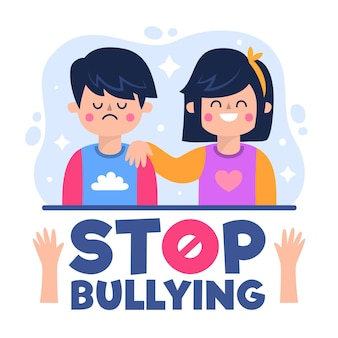 Cartoon characters presenting the stop bullying concept