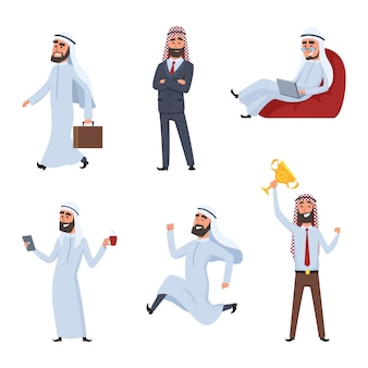 Cartoon characters set. illustrations of arabic businessmen