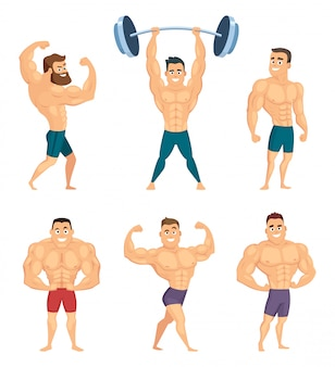 Cartoon characters of strong and muscular bodybuilders