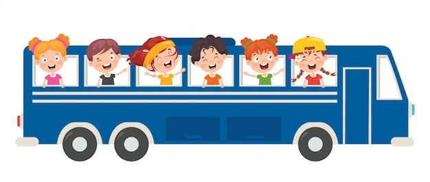 Cartoon characters travelling with vehicle
