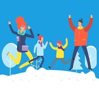 Cartoon characters in winter clothes. happy family jumping in snowdrift