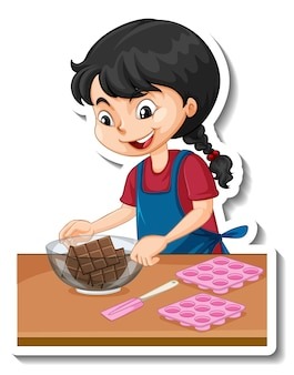 Cartoon charcter sticker a girl with baking equipments
