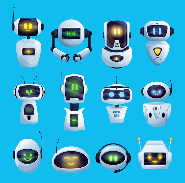 Cartoon chat bot and robots icons, cyborg characters