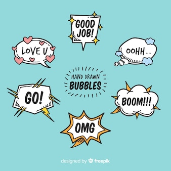 Cartoon chat bubbles with variety of messages