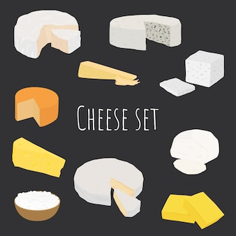 Cartoon cheese types set. different cheese types simple design.