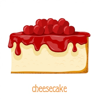 Cartoon cheesecake. bright colored cheesecake with cherries