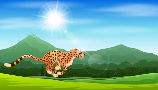 ジャングルで走っている漫画チーター