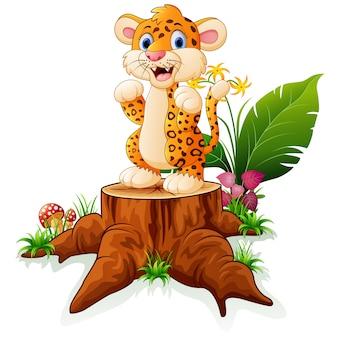 Cartoon cheetah standing on tree stump