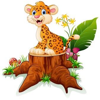 Cartoon cheetah on tree stump