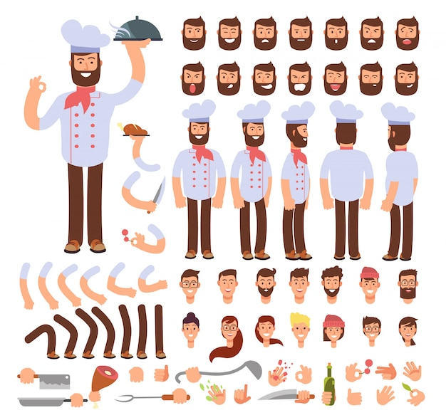 Cartoon chef animated  creation character. professional male cook