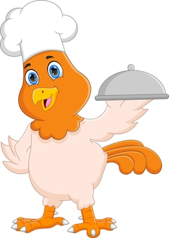 Cartoon chef chicken carrying a food tray