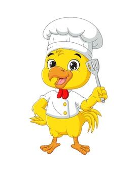 Мультяшный шеф-повар курица с лопаткой