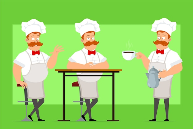 흰색 유니폼과 베이커 모자에 만화 요리사 요리사 남자 캐릭터
