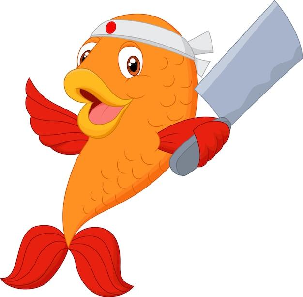 Cartoon chef fish holding soup ladle