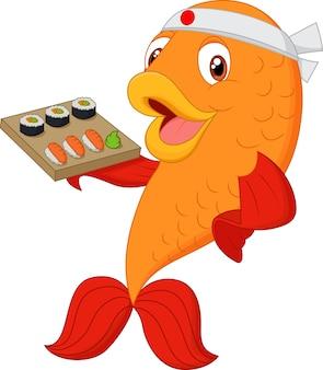 Cartoon chef fish holding sushi