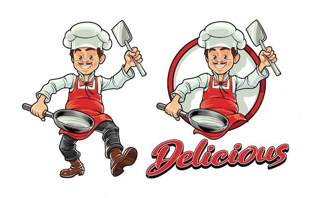 Мультяшный шеф-повар держит шпатель и сковородку