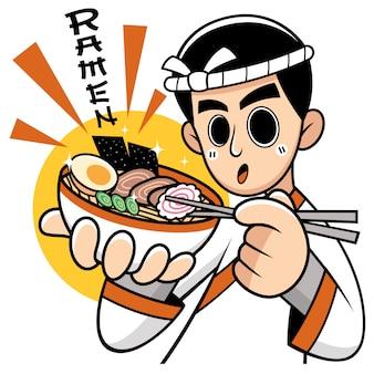 Cartoon chef japanese noodles presenting food. wording meanings : ramen