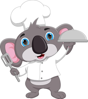 Мультфильм шеф-повар коала с подносом с едой
