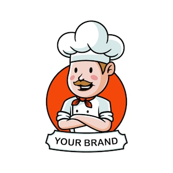 Cartoon chef mustache logo illustration