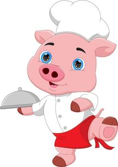 Мультфильм шеф-повар свинья, несущий поднос с едой на белом фоне