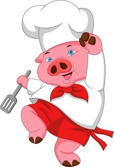 Мультфильм повар свинья позирует и держит лопатку