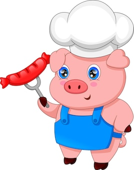 Cartoon chef pig and with sausage