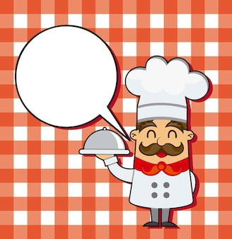 Cartoon chef over squares background vector illustration