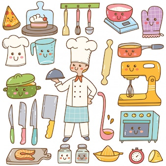 Cartoon chef with cooking equipment kawaii doodle