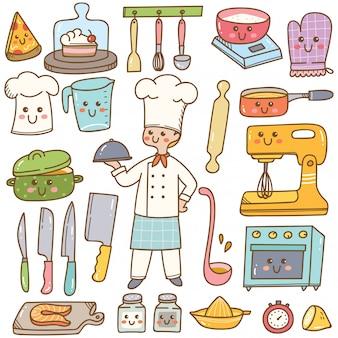 Мультяшный шеф-повар с оборудованием для приготовления пищи каваи каракули