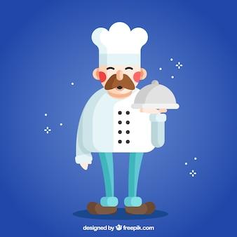 평면 디자인의 만화 요리사 무료 벡터