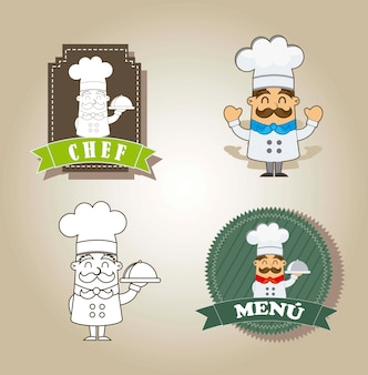 Cartoon chef with labels over brown background vector