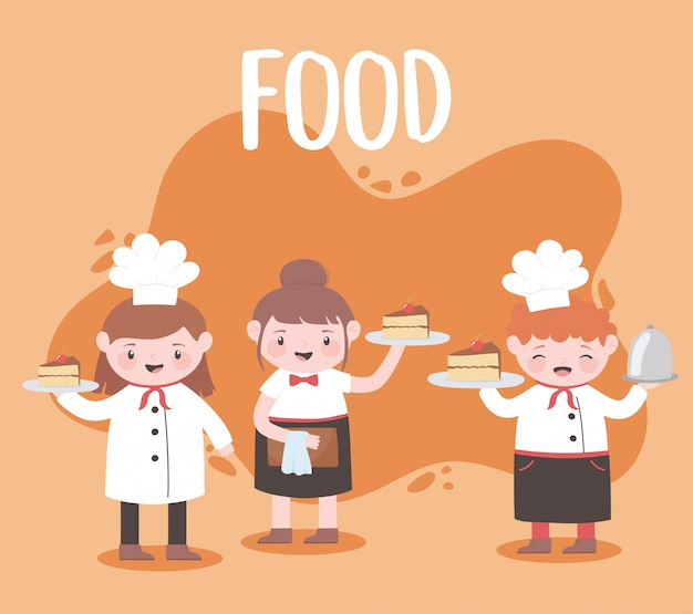 Cartoon chefs cooking and holding tray food dessert cakes