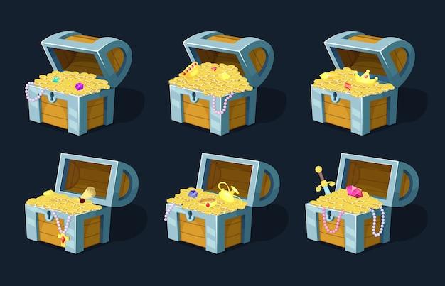 Cartoon chest with treasure