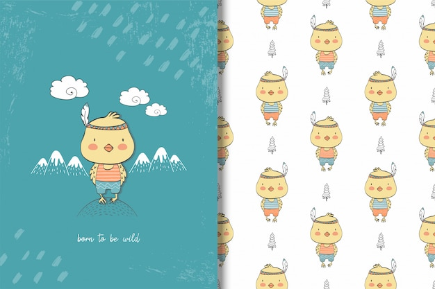 Cartoon chick card and seamless pattern